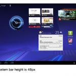 [Android] Honeycomb Android 3 のシステムバーの高さは48px